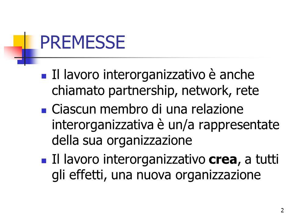 2 PREMESSE Il lavoro interorganizzativo è anche chiamato partnership, network, rete Ciascun membro di una relazione interorganizzativa è un/a rapprese