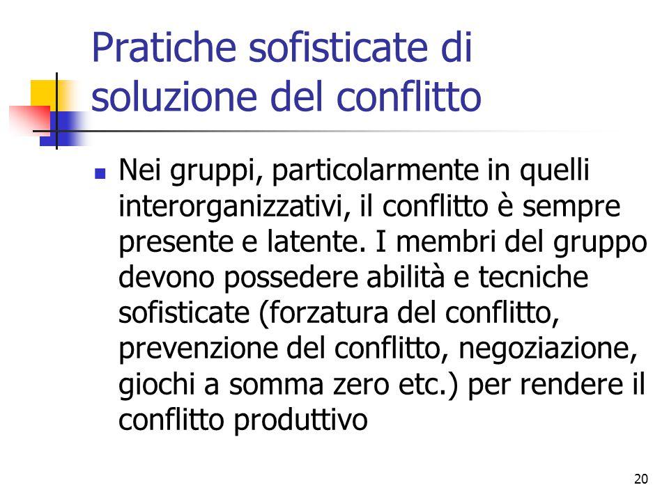 20 Pratiche sofisticate di soluzione del conflitto Nei gruppi, particolarmente in quelli interorganizzativi, il conflitto è sempre presente e latente.