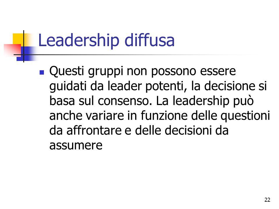 22 Leadership diffusa Questi gruppi non possono essere guidati da leader potenti, la decisione si basa sul consenso. La leadership può anche variare i