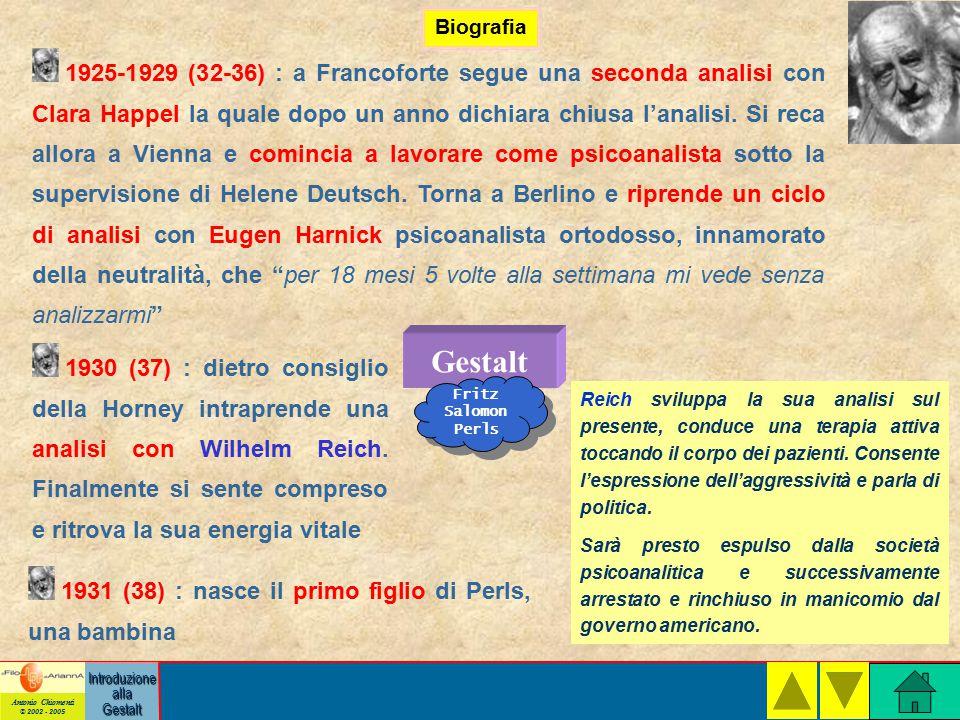 Antonio Chiomenti © 2002 - 2005 Introduzione alla Gestalt Biografia Gestalt Fritz Salomon Perls 1925-1929 (32-36) : a Francoforte segue una seconda analisi con Clara Happel la quale dopo un anno dichiara chiusa l'analisi.