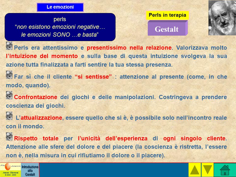 Antonio Chiomenti © 2002 - 2005 Introduzione alla Gestalt Perls in terapia Perls era attentissimo e presentissimo nella relazione.