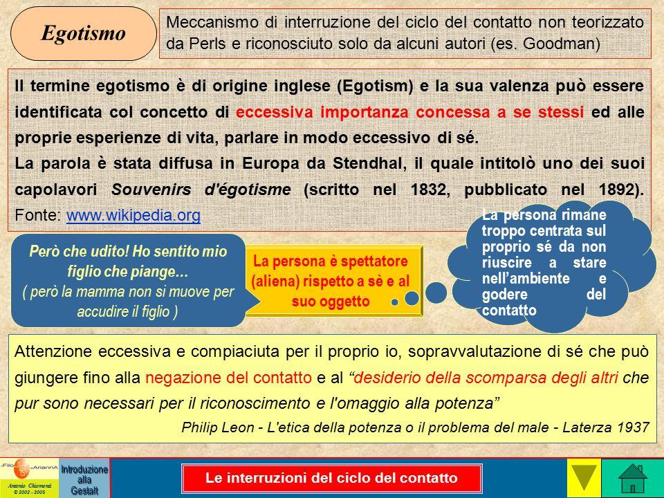 Antonio Chiomenti © 2002 - 2005 Introduzione alla Gestalt Egotismo Meccanismo di interruzione del ciclo del contatto non teorizzato da Perls e riconosciuto solo da alcuni autori (es.