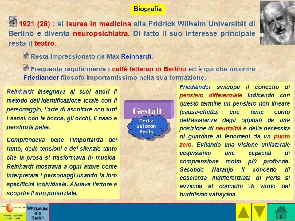 Antonio Chiomenti © 2002 - 2005 Introduzione alla Gestalt Biografia Gestalt Fritz Salomon Perls 1921 (28) : si laurea in medicina alla Fridrick Wilhelm Universität di Berlino e diventa neuropsichiatra.