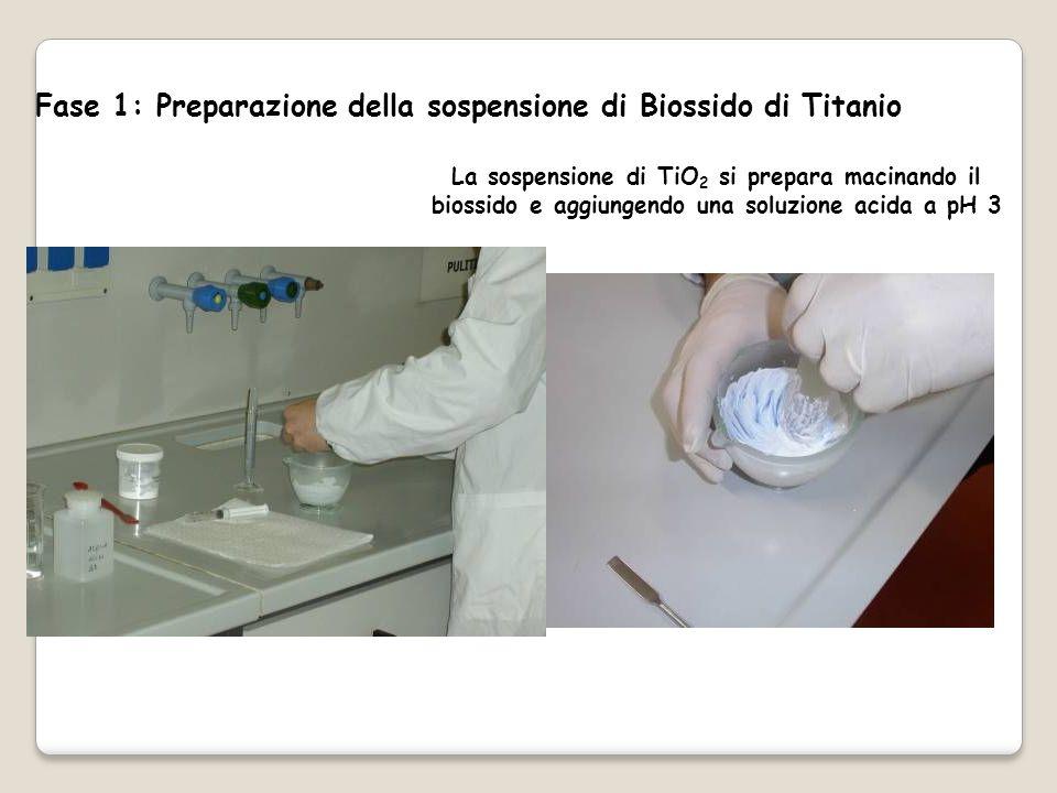 Fase 1: Preparazione della sospensione di Biossido di Titanio La sospensione di TiO 2 si prepara macinando il biossido e aggiungendo una soluzione acida a pH 3