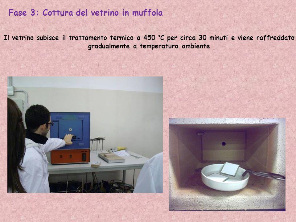Fase 3: Cottura del vetrino in muffola Il vetrino subisce il trattamento termico a 450 °C per circa 30 minuti e viene raffreddato gradualmente a temperatura ambiente