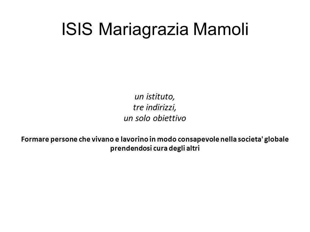 ISIS Mariagrazia Mamoli un istituto, tre indirizzi, un solo obiettivo Formare persone che vivano e lavorino in modo consapevole nella societa' globale