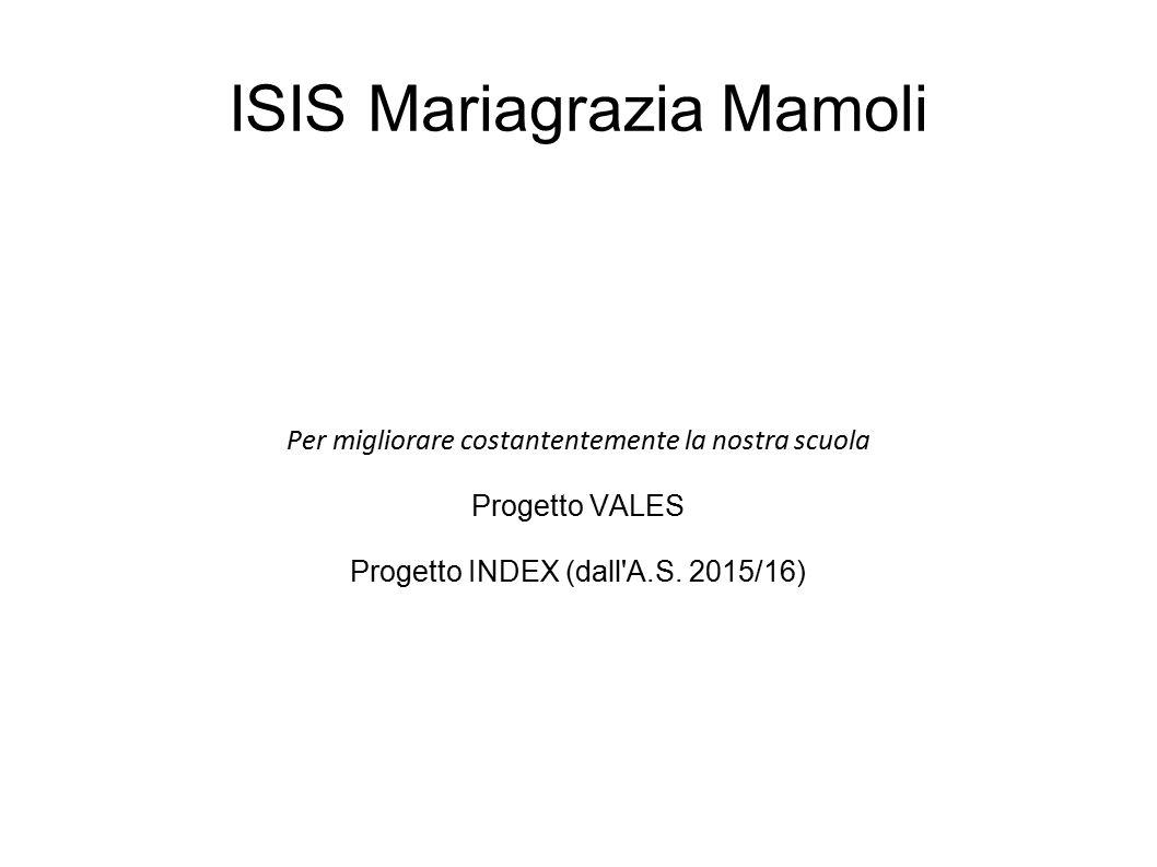 ISIS Mariagrazia Mamoli Per migliorare costantentemente la nostra scuola Progetto VALES Progetto INDEX (dall'A.S. 2015/16)