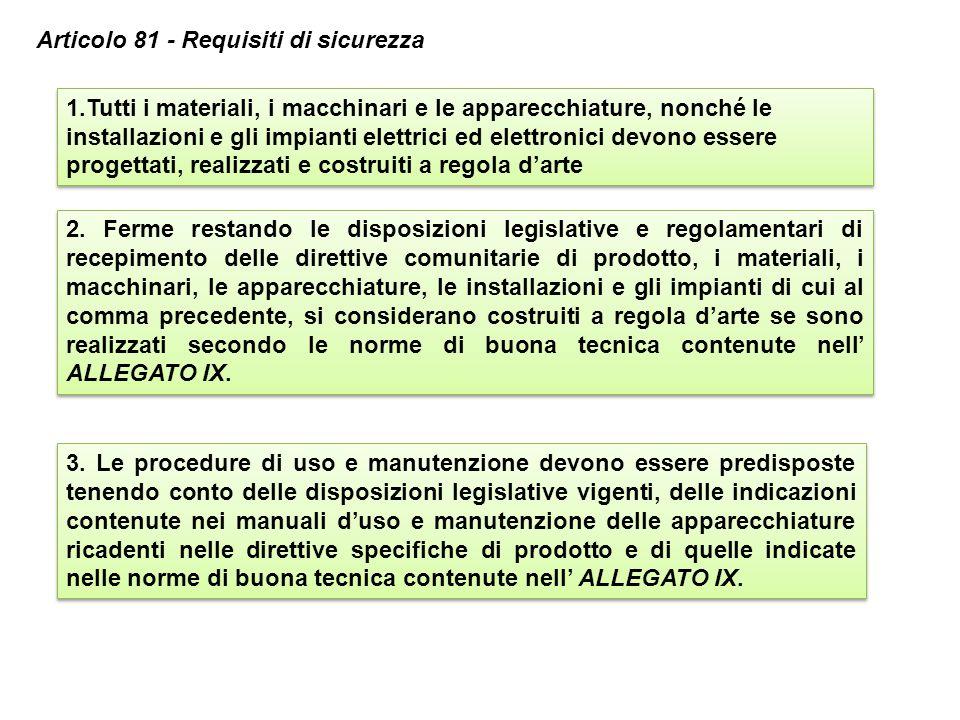 3. Le procedure di uso e manutenzione devono essere predisposte tenendo conto delle disposizioni legislative vigenti, delle indicazioni contenute nei