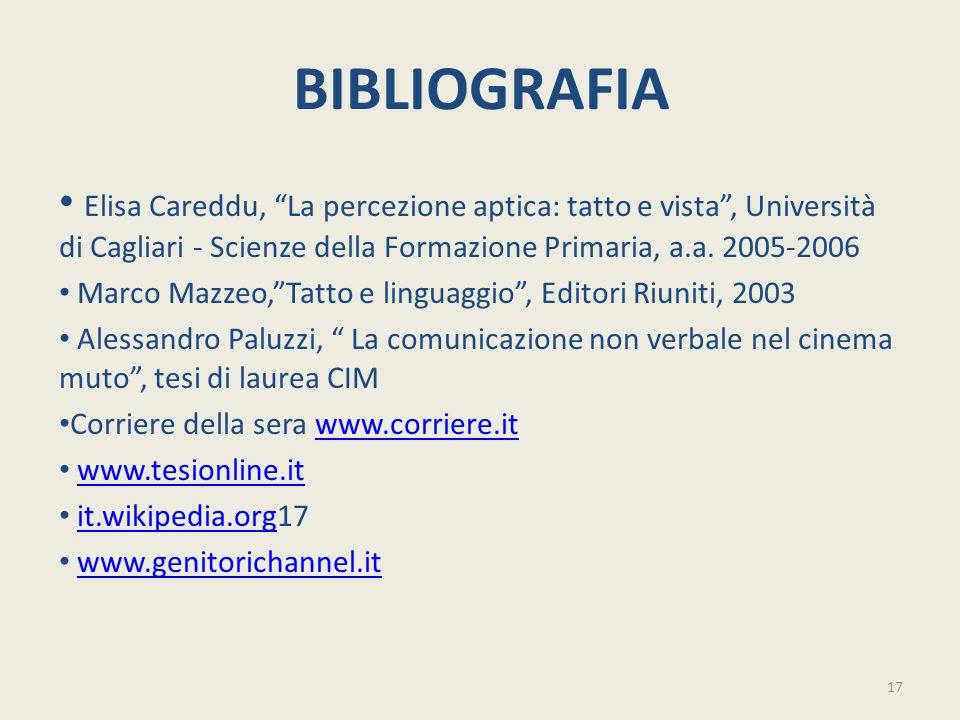 """BIBLIOGRAFIA Elisa Careddu, """"La percezione aptica: tatto e vista"""", Università di Cagliari - Scienze della Formazione Primaria, a.a. 2005-2006 Marco Ma"""