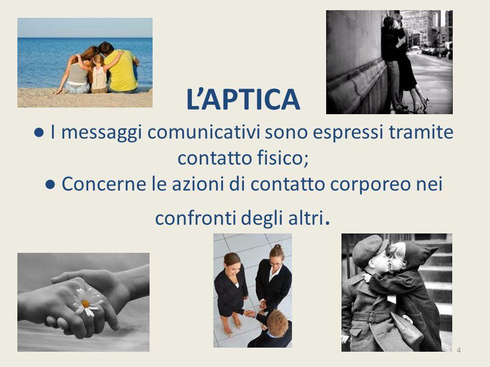 L'APTICA ● I messaggi comunicativi sono espressi tramite contatto fisico; ● Concerne le azioni di contatto corporeo nei confronti degli altri. 4