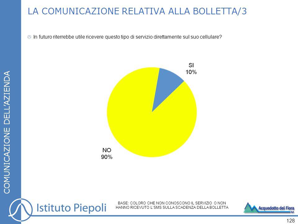 LA COMUNICAZIONE RELATIVA ALLA BOLLETTA/3 In futuro riterrebbe utile ricevere questo tipo di servizio direttamente sul suo cellulare.
