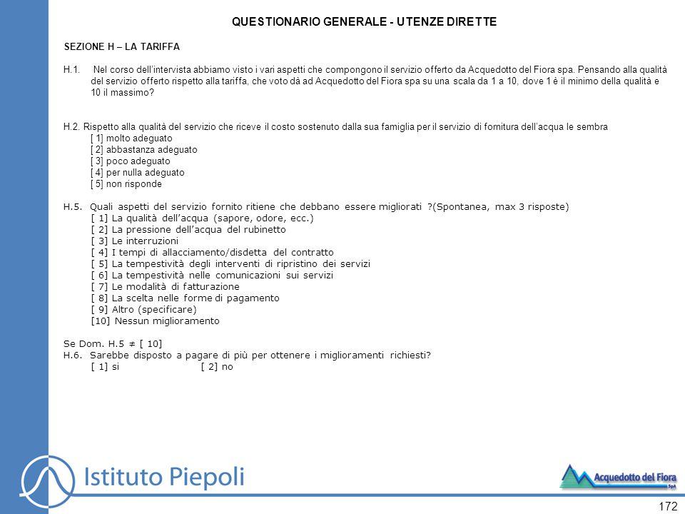 172 QUESTIONARIO GENERALE - UTENZE DIRETTE SEZIONE H – LA TARIFFA H.1.