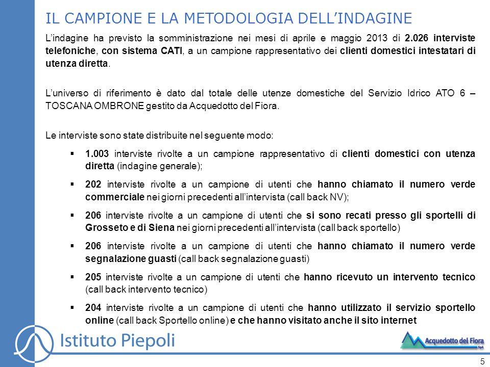 IL CAMPIONE E LA METODOLOGIA DELL'INDAGINE L'indagine ha previsto la somministrazione nei mesi di aprile e maggio 2013 di 2.026 interviste telefoniche, con sistema CATI, a un campione rappresentativo dei clienti domestici intestatari di utenza diretta.