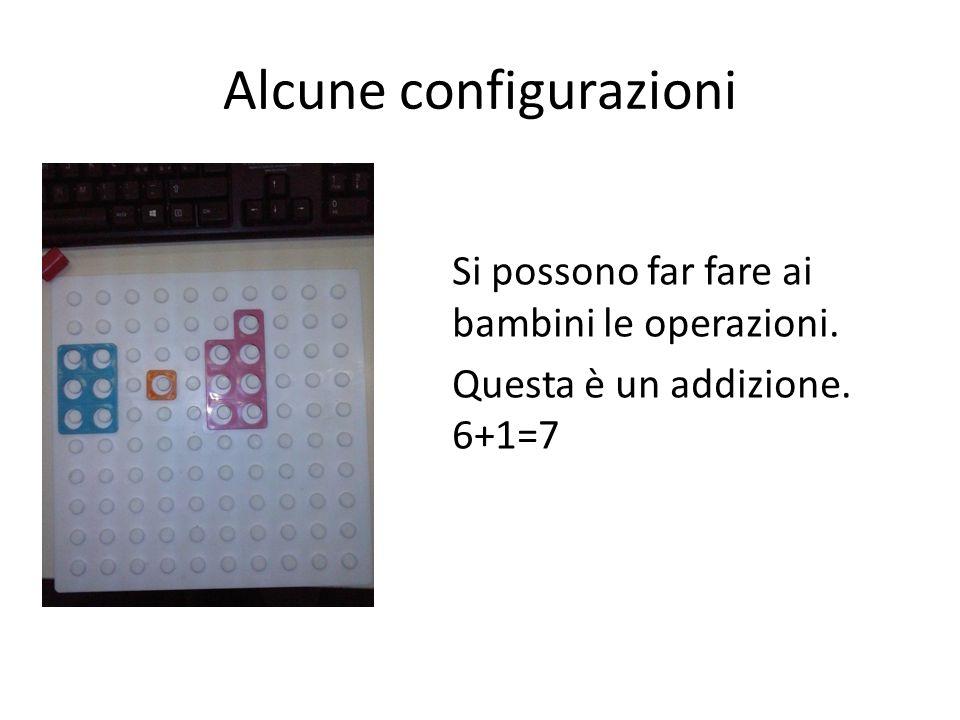 Alcune configurazioni Si possono far fare ai bambini le operazioni. Questa è un addizione. 6+1=7