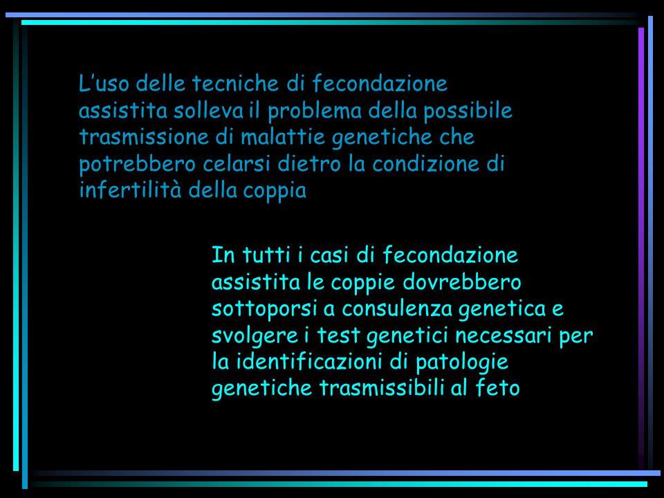 L'uso delle tecniche di fecondazione assistita solleva il problema della possibile trasmissione di malattie genetiche che potrebbero celarsi dietro la condizione di infertilità della coppia In tutti i casi di fecondazione assistita le coppie dovrebbero sottoporsi a consulenza genetica e svolgere i test genetici necessari per la identificazioni di patologie genetiche trasmissibili al feto