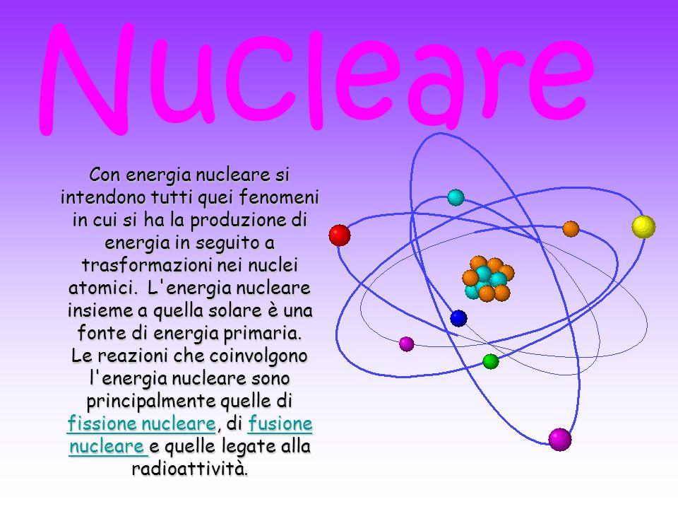 Con energia nucleare si intendono tutti quei fenomeni in cui si ha la produzione di energia in seguito a trasformazioni nei nuclei atomici. L'energia