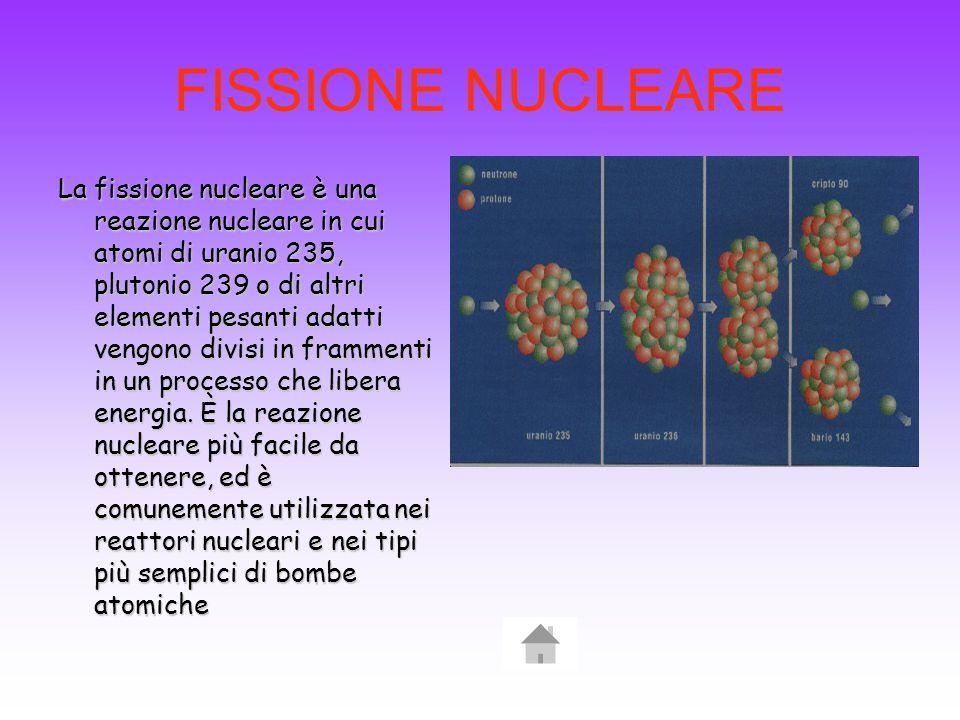 FISSIONE NUCLEARE La fissione nucleare è una reazione nucleare in cui atomi di uranio 235, plutonio 239 o di altri elementi pesanti adatti vengono divisi in frammenti in un processo che libera energia.