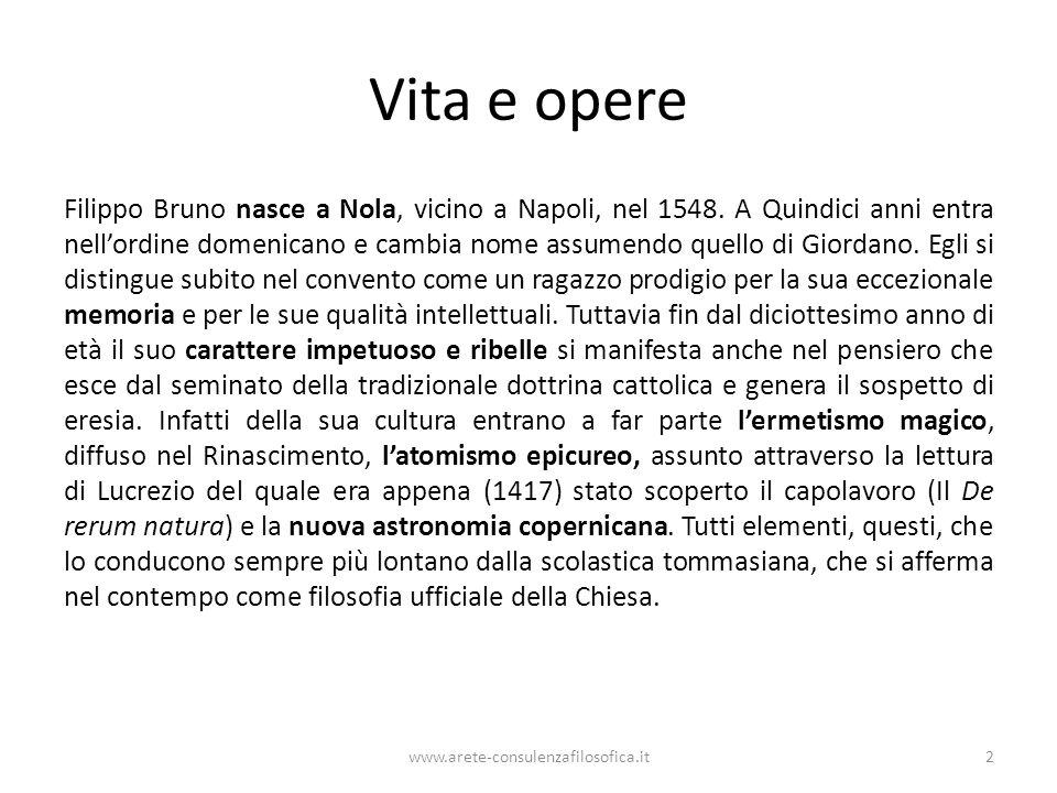 Vita e opere Filippo Bruno nasce a Nola, vicino a Napoli, nel 1548.