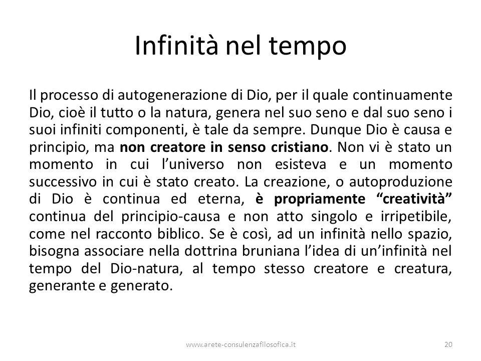 Infinità nel tempo Il processo di autogenerazione di Dio, per il quale continuamente Dio, cioè il tutto o la natura, genera nel suo seno e dal suo seno i suoi infiniti componenti, è tale da sempre.
