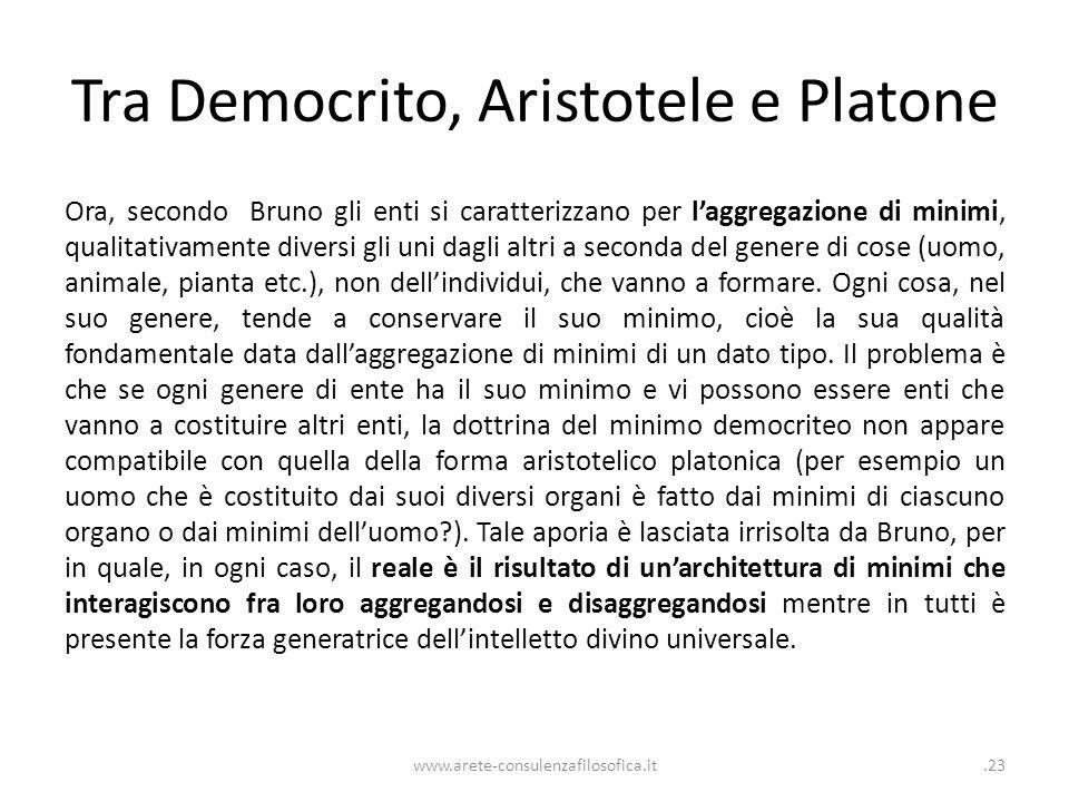 Tra Democrito, Aristotele e Platone Ora, secondo Bruno gli enti si caratterizzano per l'aggregazione di minimi, qualitativamente diversi gli uni dagli altri a seconda del genere di cose (uomo, animale, pianta etc.), non dell'individui, che vanno a formare.