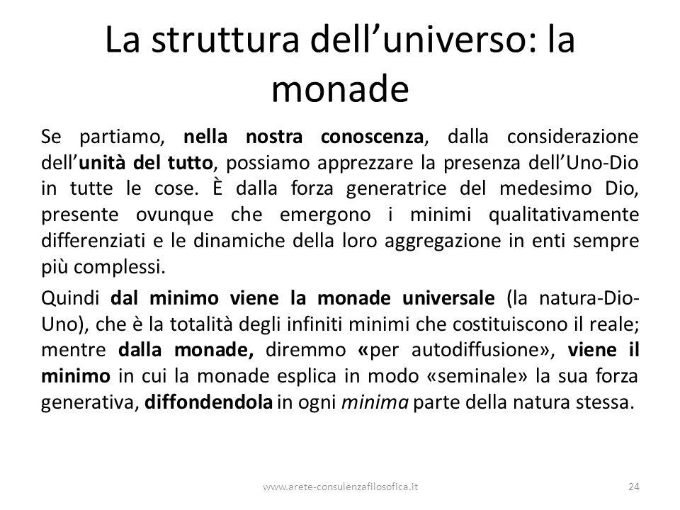La struttura dell'universo: la monade Se partiamo, nella nostra conoscenza, dalla considerazione dell'unità del tutto, possiamo apprezzare la presenza dell'Uno-Dio in tutte le cose.