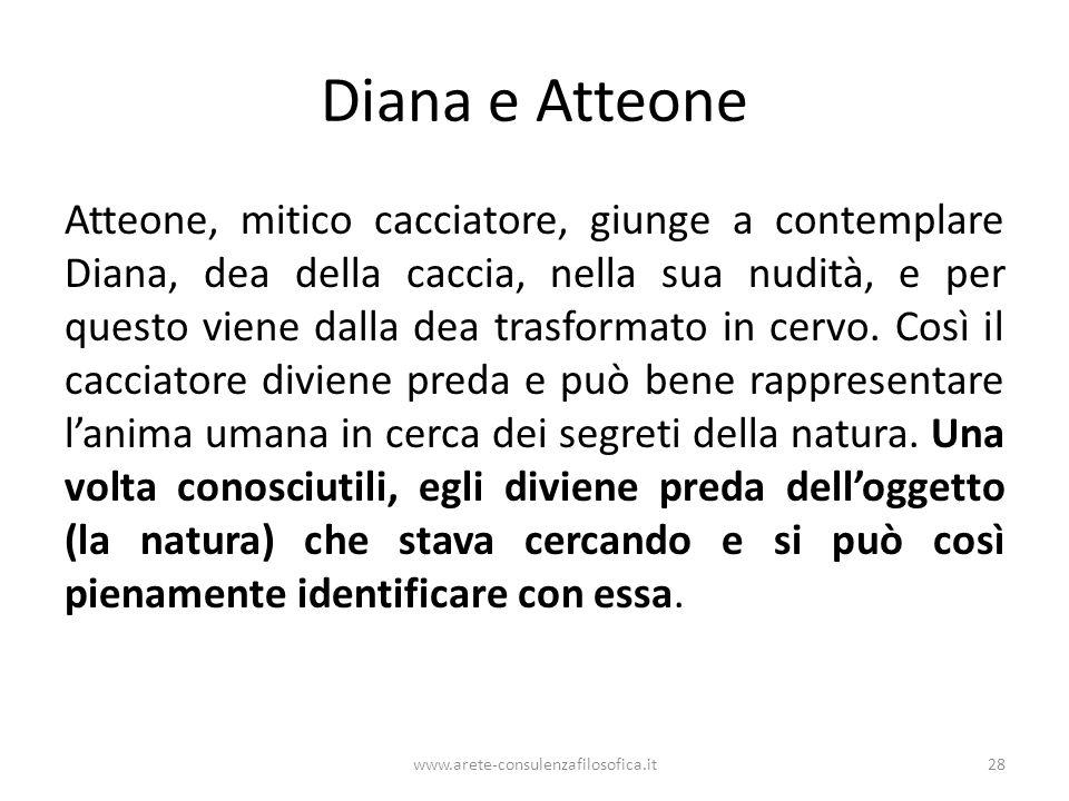 Diana e Atteone Atteone, mitico cacciatore, giunge a contemplare Diana, dea della caccia, nella sua nudità, e per questo viene dalla dea trasformato in cervo.