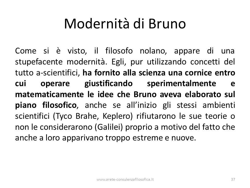 Modernità di Bruno Come si è visto, il filosofo nolano, appare di una stupefacente modernità.