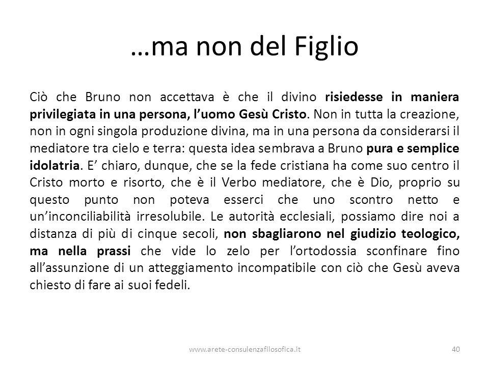 …ma non del Figlio Ciò che Bruno non accettava è che il divino risiedesse in maniera privilegiata in una persona, l'uomo Gesù Cristo.