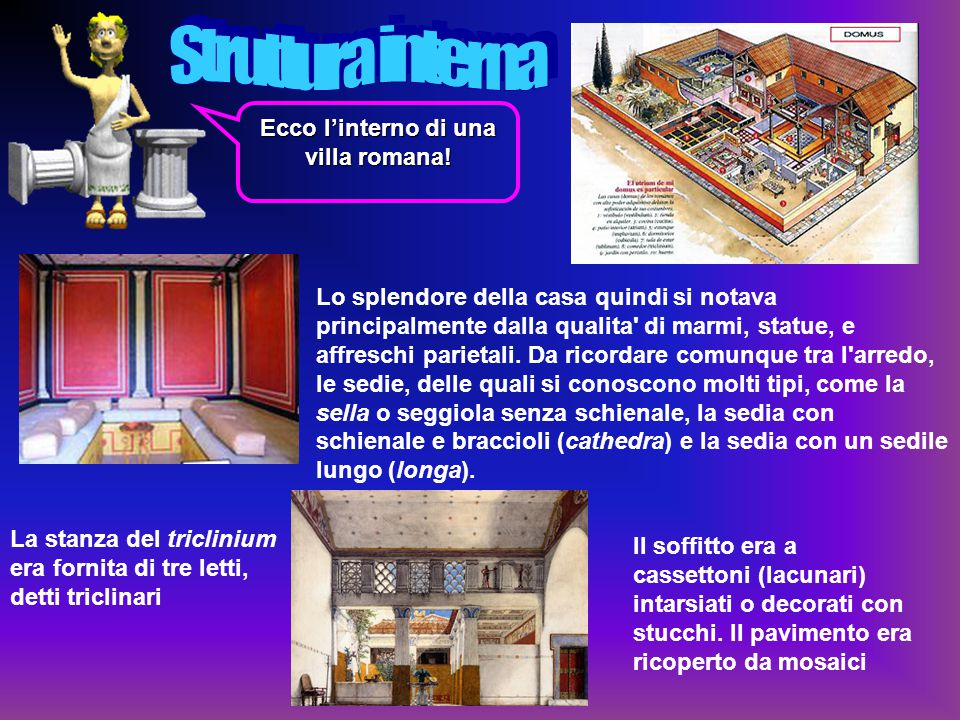 . Nella foto a sinistra possiamo vedere la planimetria di una villa Romana. La domus romana era di pianta rettangolare, solidamente costruita su un so