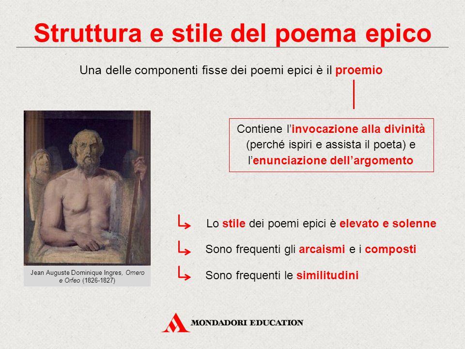 Struttura e stile del poema epico Una delle componenti fisse dei poemi epici è il proemio Contiene l'invocazione alla divinità (perché ispiri e assist