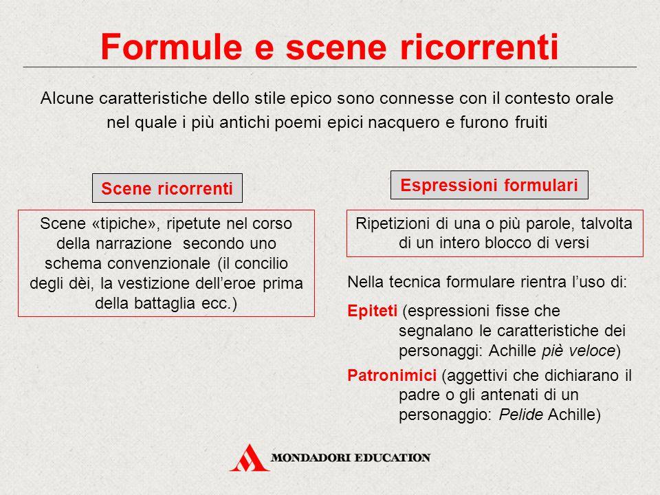 Formule e scene ricorrenti Alcune caratteristiche dello stile epico sono connesse con il contesto orale nel quale i più antichi poemi epici nacquero e