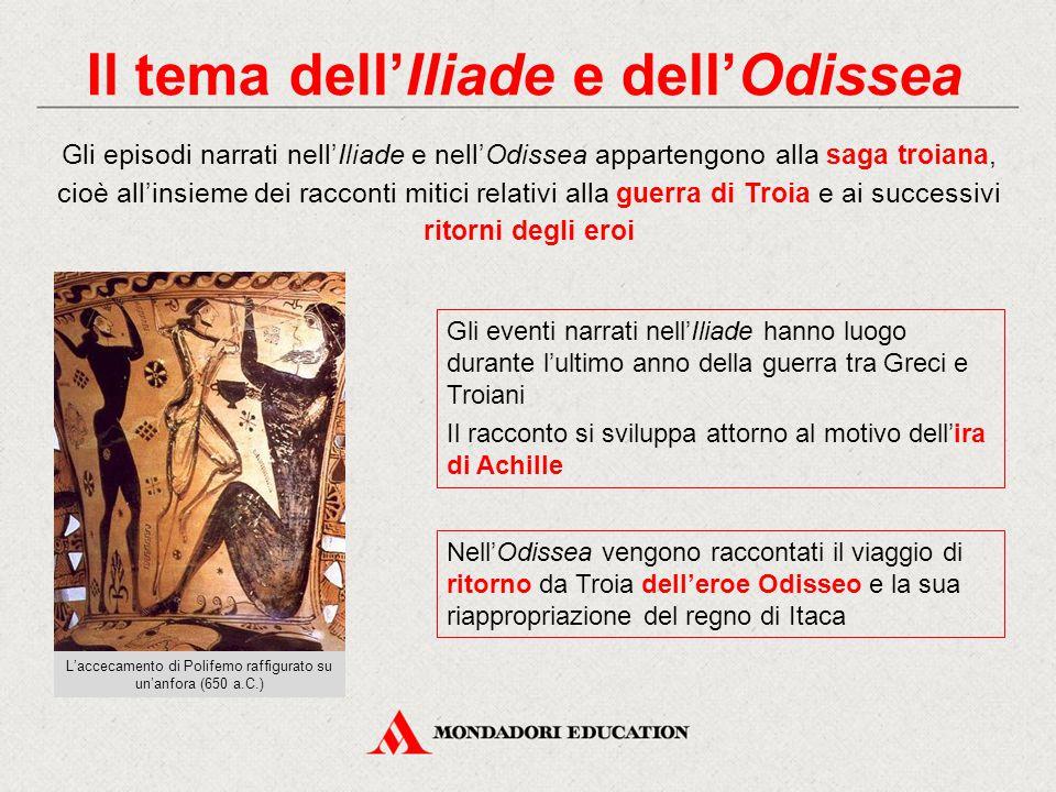 Il tema dell'Iliade e dell'Odissea Gli episodi narrati nell'Iliade e nell'Odissea appartengono alla saga troiana, cioè all'insieme dei racconti mitici