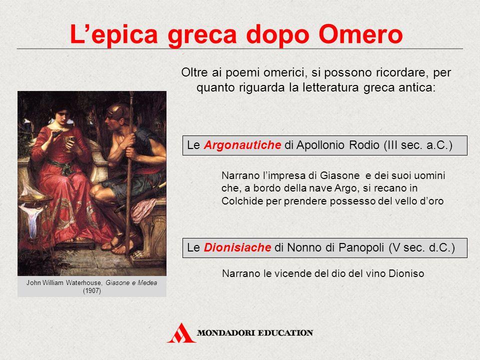 L'epica greca dopo Omero Oltre ai poemi omerici, si possono ricordare, per quanto riguarda la letteratura greca antica: Le Argonautiche di Apollonio R