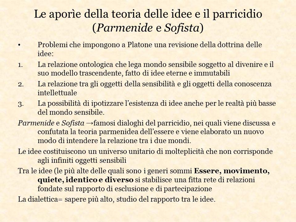 Le aporìe della teoria delle idee e il parricidio (Parmenide e Sofista) Problemi che impongono a Platone una revisione della dottrina delle idee: 1.La
