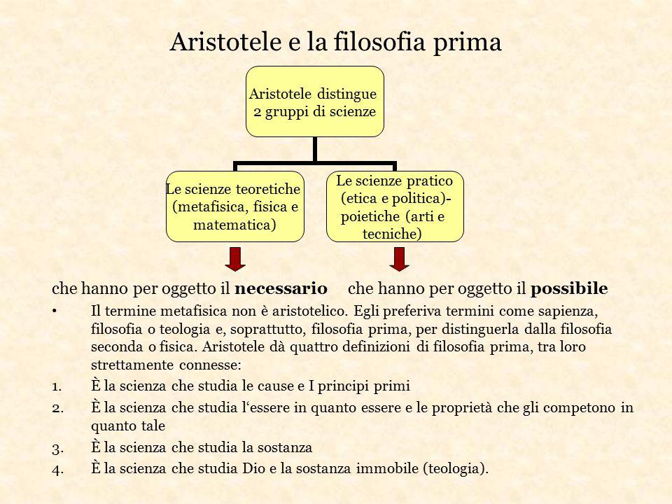 Aristotele e la filosofia prima che hanno per oggetto il necessario che hanno per oggetto il possibile Il termine metafisica non è aristotelico. Egli