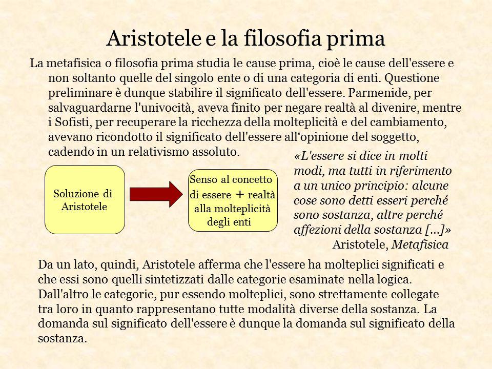 Aristotele e la filosofia prima La metafisica o filosofia prima studia le cause prima, cioè le cause dell'essere e non soltanto quelle del singolo ent