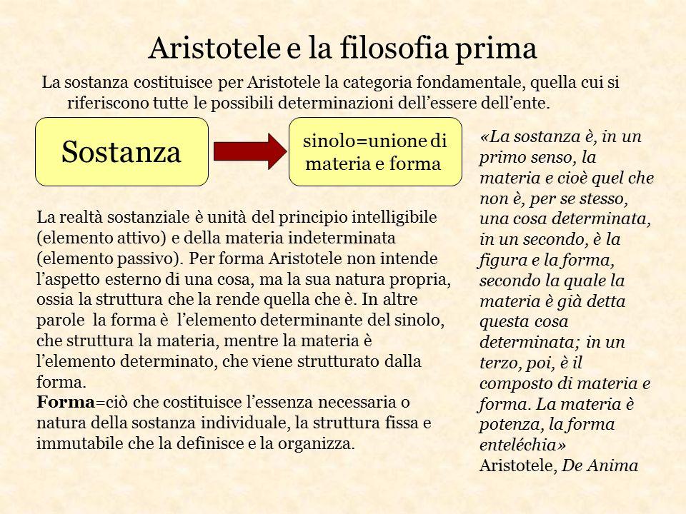 Aristotele e la filosofia prima La sostanza costituisce per Aristotele la categoria fondamentale, quella cui si riferiscono tutte le possibili determi