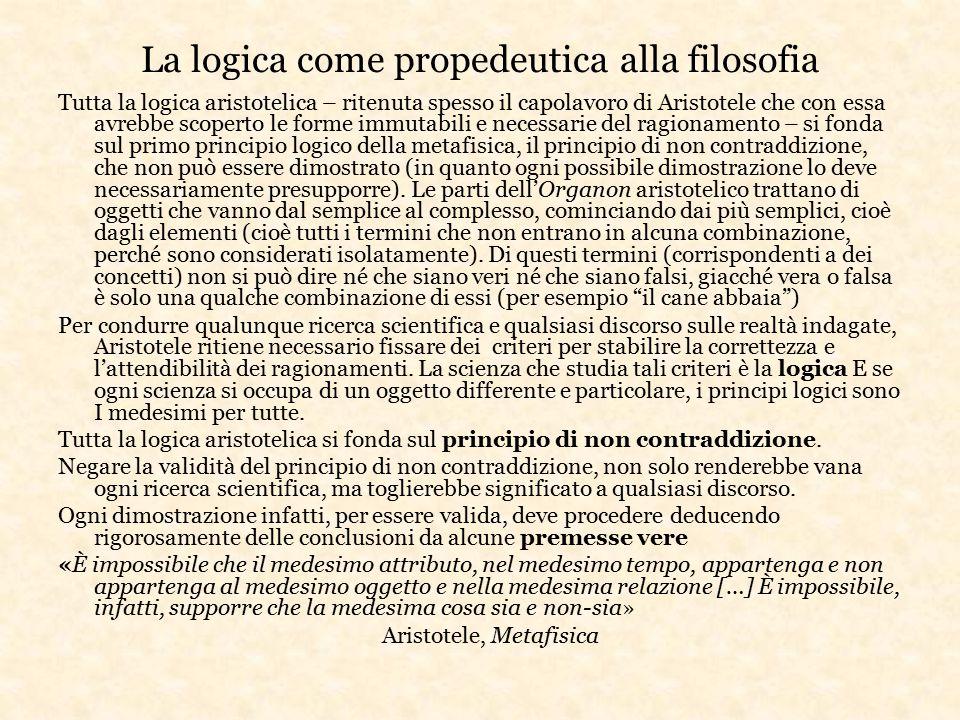 La logica come propedeutica alla filosofia Tutta la logica aristotelica – ritenuta spesso il capolavoro di Aristotele che con essa avrebbe scoperto le