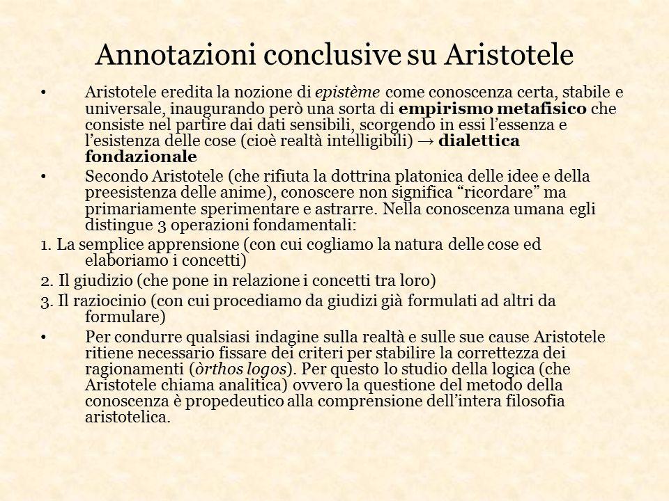 Annotazioni conclusive su Aristotele Aristotele eredita la nozione di epistème come conoscenza certa, stabile e universale, inaugurando però una sorta