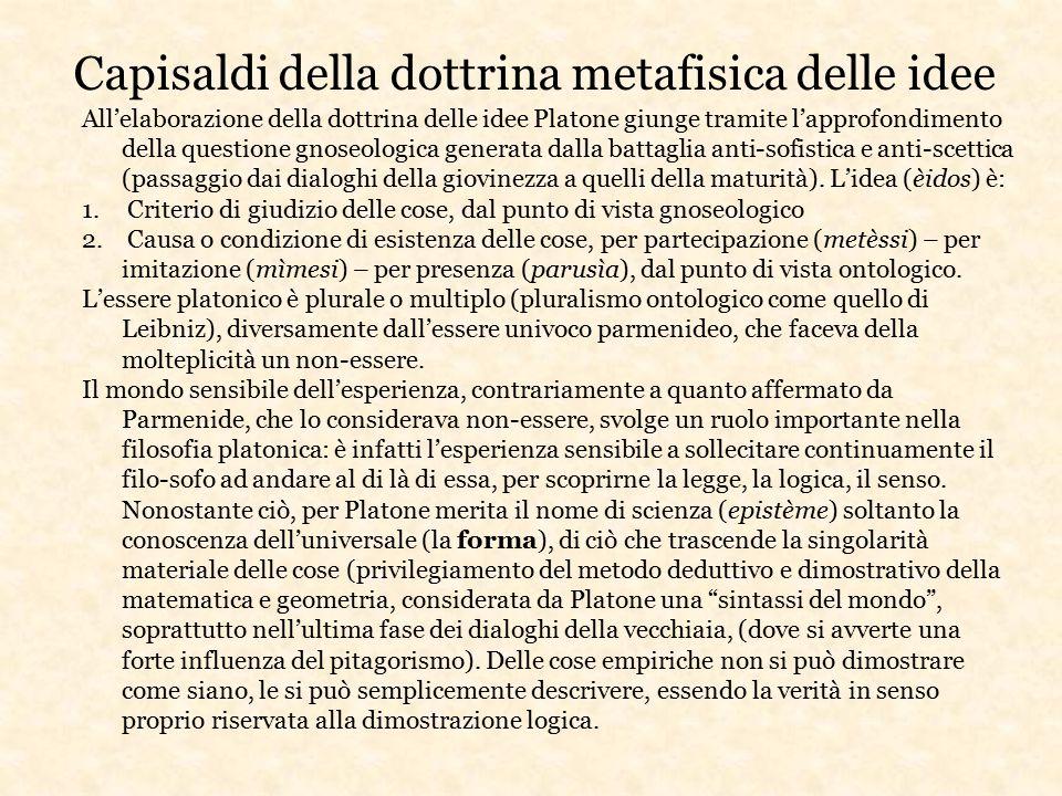All'elaborazione della dottrina delle idee Platone giunge tramite l'approfondimento della questione gnoseologica generata dalla battaglia anti-sofisti