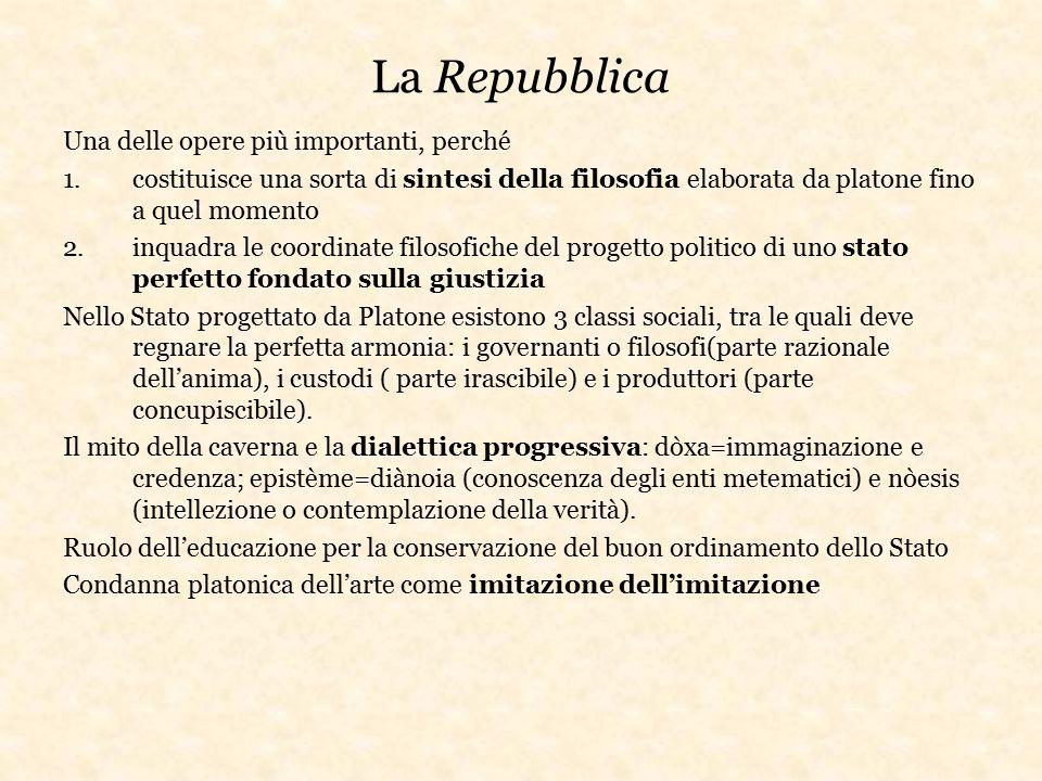 La Repubblica Una delle opere più importanti, perché 1.costituisce una sorta di sintesi della filosofia elaborata da platone fino a quel momento 2.inq