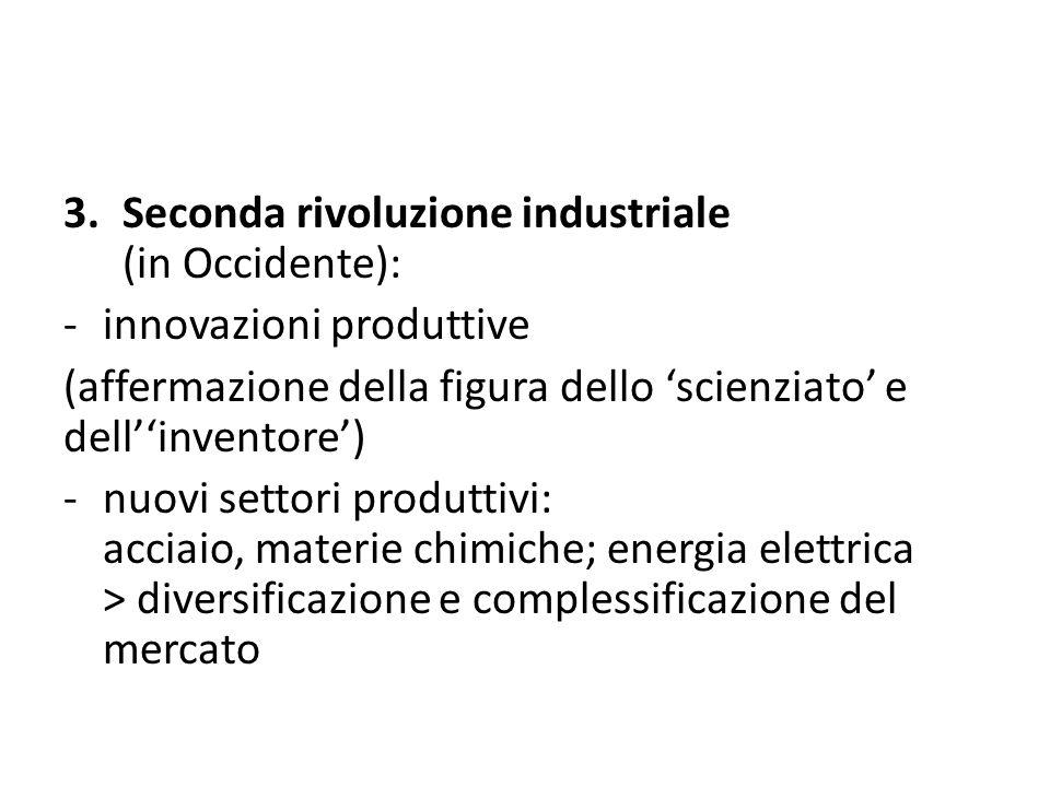 3.Seconda rivoluzione industriale (in Occidente): -innovazioni produttive (affermazione della figura dello 'scienziato' e dell''inventore') -nuovi set