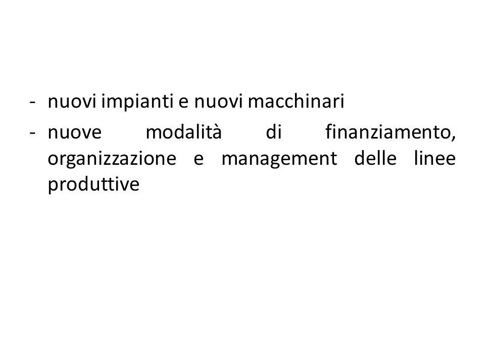 -nuovi impianti e nuovi macchinari -nuove modalità di finanziamento, organizzazione e management delle linee produttive