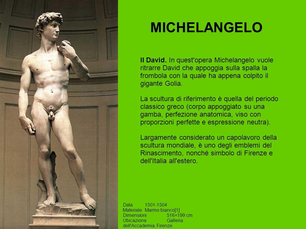 MICHELANGELO Data1501-1504 MaterialeMarmo bianco[1] Dimensioni516×199 cm UbicazioneGalleria dell'Accademia, Firenze Il David. In quest'opera Michelang