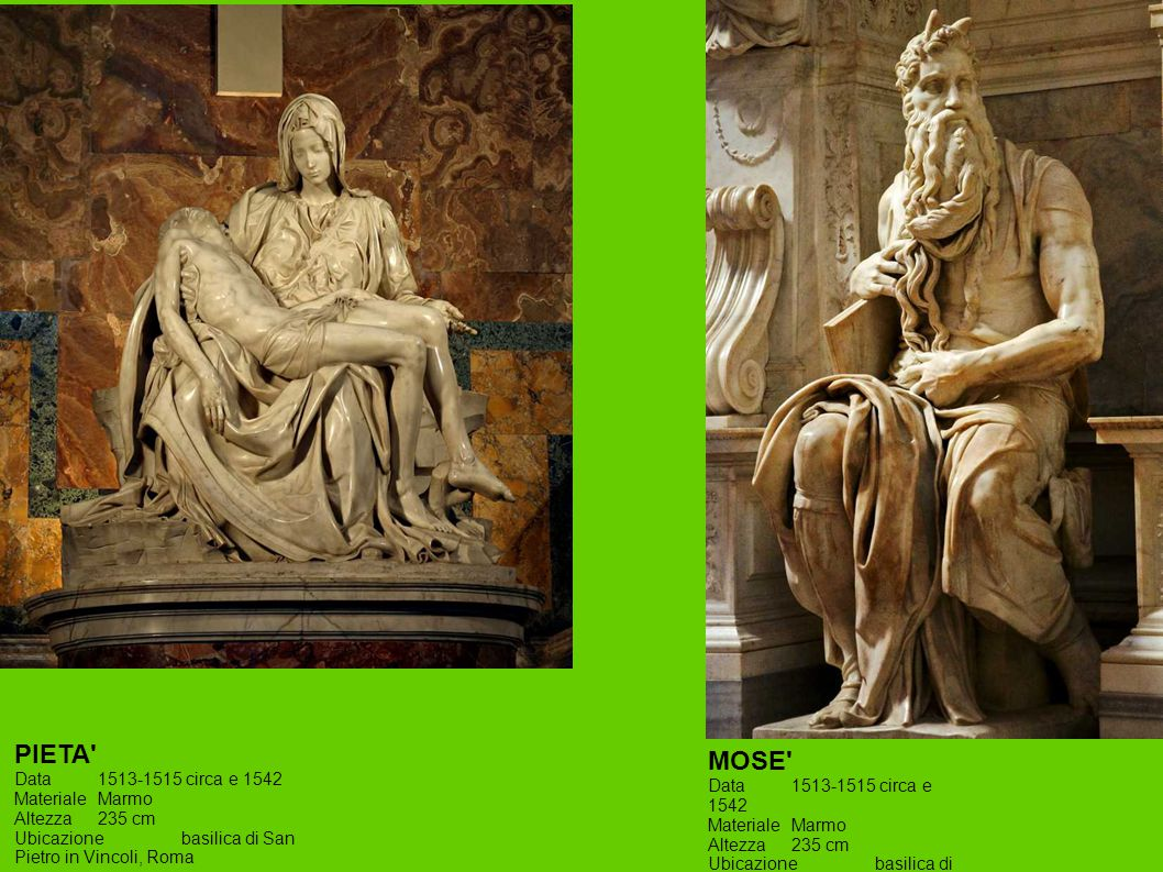 MOSE' Data1513-1515 circa e 1542 MaterialeMarmo Altezza235 cm Ubicazionebasilica di San Pietro in Vincoli, Roma PIETA' Data1513-1515 circa e 1542 Mate