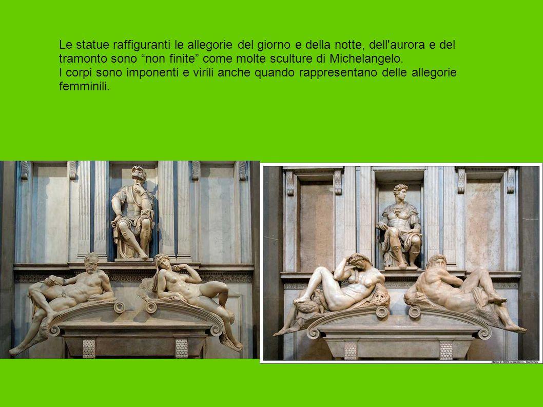 """Le statue raffiguranti le allegorie del giorno e della notte, dell'aurora e del tramonto sono """"non finite"""" come molte sculture di Michelangelo. I corp"""