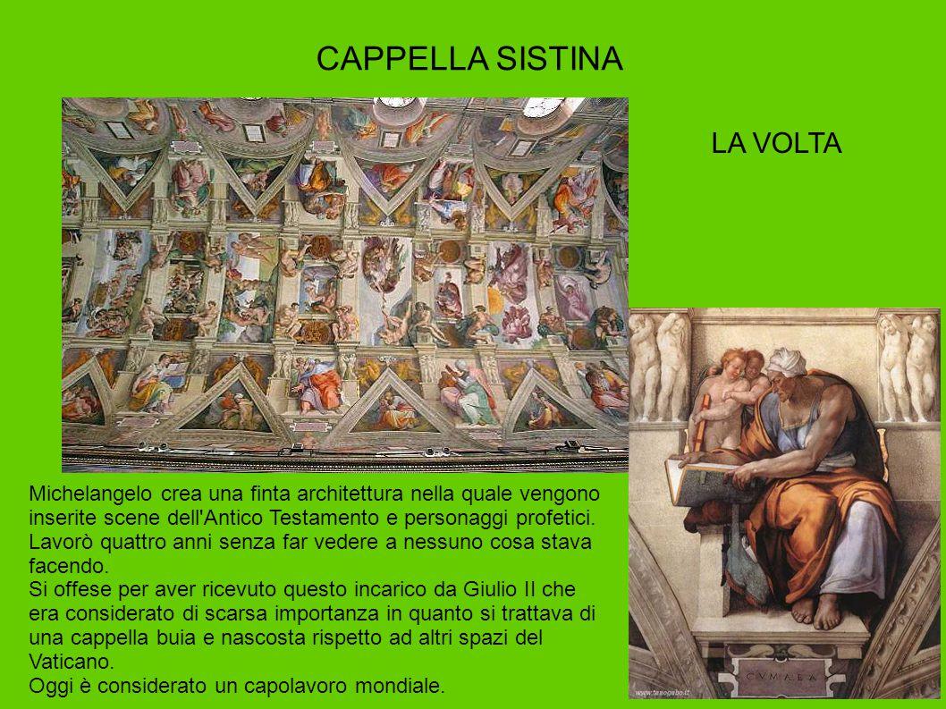CAPPELLA SISTINA Michelangelo crea una finta architettura nella quale vengono inserite scene dell'Antico Testamento e personaggi profetici. Lavorò qua
