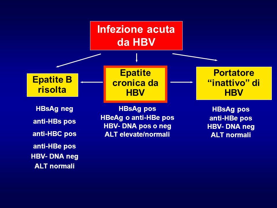 "Infezione acuta da HBV Epatite cronica da HBV Portatore ""inattivo"" di HBV Epatite B risolta HBsAg neg anti-HBs pos anti-HBC pos anti-HBe pos HBV- DNA"