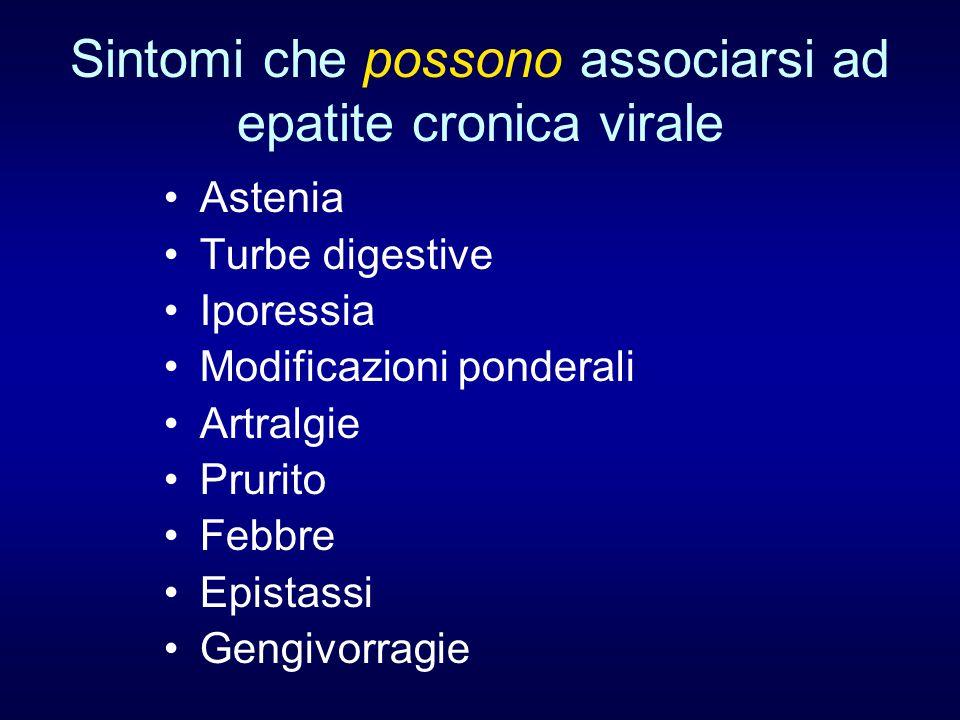 Sintomi che possono associarsi ad epatite cronica virale Astenia Turbe digestive Iporessia Modificazioni ponderali Artralgie Prurito Febbre Epistassi Gengivorragie