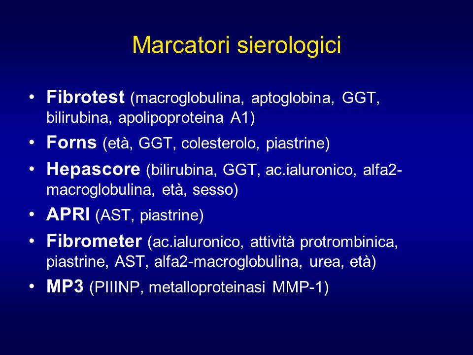 Marcatori sierologici Fibrotest (macroglobulina, aptoglobina, GGT, bilirubina, apolipoproteina A1) Forns (età, GGT, colesterolo, piastrine) Hepascore